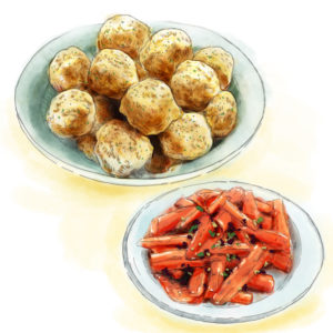 meatballs and carrots